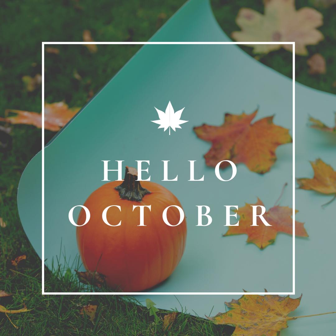 Autumn scene with Hello October