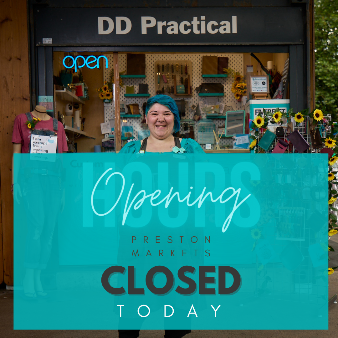 Dani at the shop with text saying shop closed today